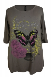 Stylish 3/4 Sleeve Butterfly Print T-Shirt - Khaki