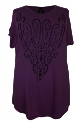 Funky Purple Cold Shoulder Caviar Bead Print Tunic