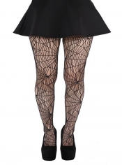 Cobweb Pattern Net Tights - Black