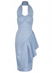 Ola Sarong Style Wiggle Dress - Sky Blue ------SOLD OUT------