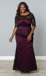 Astoria Lace Peplum Gown -Black Lace & Magenta Lining