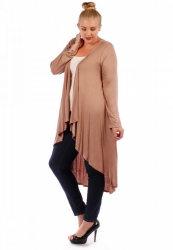 Stylish Longline High-Lo Waterfall Cardigan - Mocha