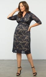Scalloped Boudoir Lace Dress - Navy & Nude