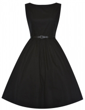 Audrey Hepburn Style Swing Dress - Black