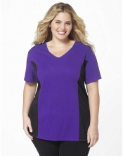 Plus Size AirLight Sport Tee - Purple/Black Contrast