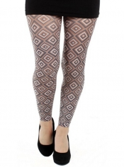 70s Diamond Printed Footless Tights