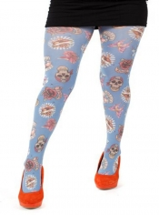 Skull & Roses Printed Tights