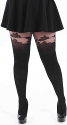 Floral Suspender Tights - Black