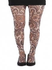 Flower Mosaic Printed Tights - Brown
