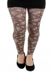 Autumn Flower Printed Footless Tights - Brown