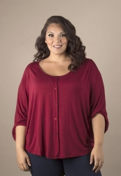 Katie Pullover Top - Burgundy