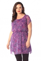Pretty Paisley Purple Chiffon Tunic Top