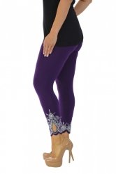 Lovely Embellished Laser Cut Leggings - Purple
