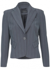 Feminine Short Length Button Detail Jacket - Grey