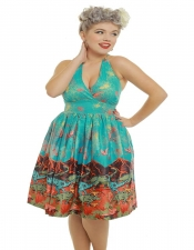 Marilyn Halterneck Swing Dress - Volcano and Dinosaur Print