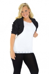 Cool Cotton Ruched Plus Size Bolero Shrug - Black
