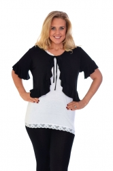 Feminine Frill Front Tie-up Bolero Shrug - Black