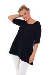 Essential Tab Sleeve Scoop Neck Top - Black