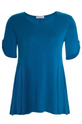 Essential Tab Sleeve Scoop Neck Top - Teal