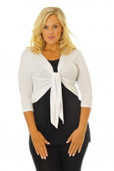 Too Cute Two Way Tie Shrug - White