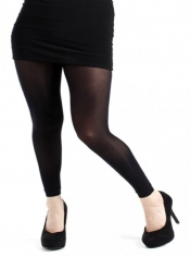 40 Denier Velvet Footless Tights - Black