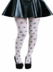 Skulls A Printed Tights White/Black
