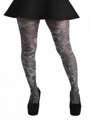 Lace Frill Printed Tights Black & White