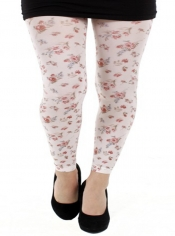 Autumn Flower Printed Footless Tights White
