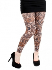 Flower Mosaic Printed Footless Tights