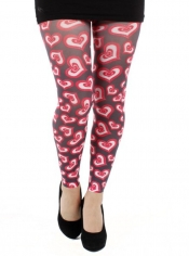 Heart Struck Printed Footless Tights