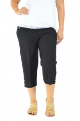 Easy Wearing Cropped Tab Detail Capri Pants - Black