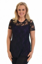Stylish Sweetheart Lined Lace Top - Black & Purple