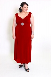 Stunning Red Long Length Dress w/ Silver Medallion
