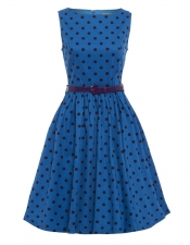 Audrey Hepburn Style Swing Dress - Medium Blue Polka Dot