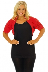 Cool Cotton Ruched Plus Size Bolero Shrug - Red