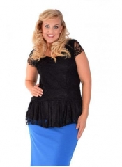Lovely Lace Peplum Top - Black