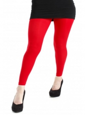 40 Denier Velvet Footless Tights - Flo Red