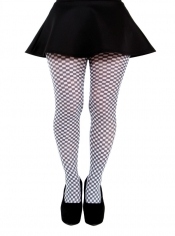 Gingham Check Printed Tights - Black & White