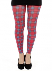 Jackson Plaid Printed Footless Tights - Red