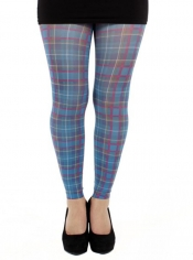 Jackson Plaid Printed Footless Tights - Blue