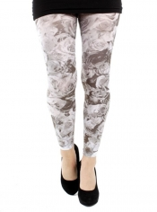 Roseflower Printed Footless Tights Black/White
