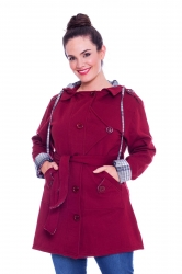 Stylish Hooded Fleece Coat w Reversible Belt - Wine