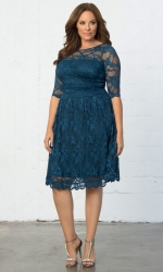 Luna Lace Dress Scalloped Lace Edge - Crazy About Blue