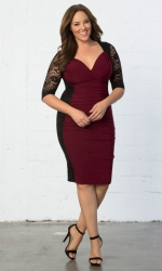 Valentina Illusion Dress - Black & Burgundy