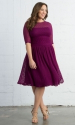 Alexa Retro Dot Dress - Raspberry Dream