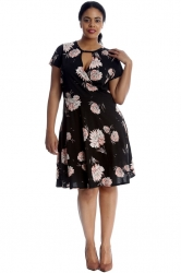 Lovely Floral Print Cutout Tunic Dress - Black
