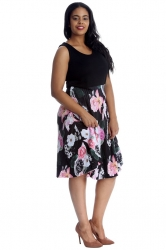 Pretty 2 in 1 Floral Sleeveless Dress - Black & Pink