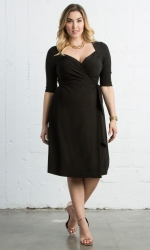 Sweetheart Knit Wrap Dress - Black Shimmer