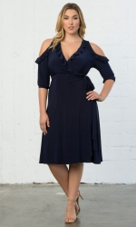 Barcelona Wrap Dress - Navy