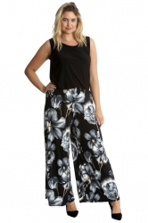 Bold & Vibrant Floral Print Palazzos - Black & Grey ------SOLD OUT------